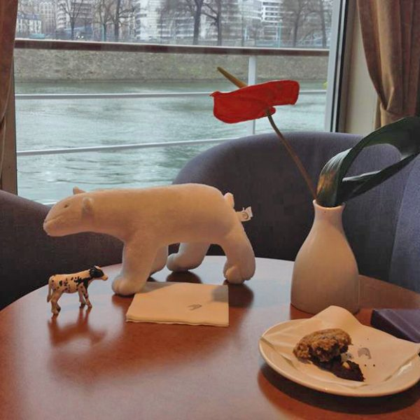 a toy cow and a stuffed bear together on a table
